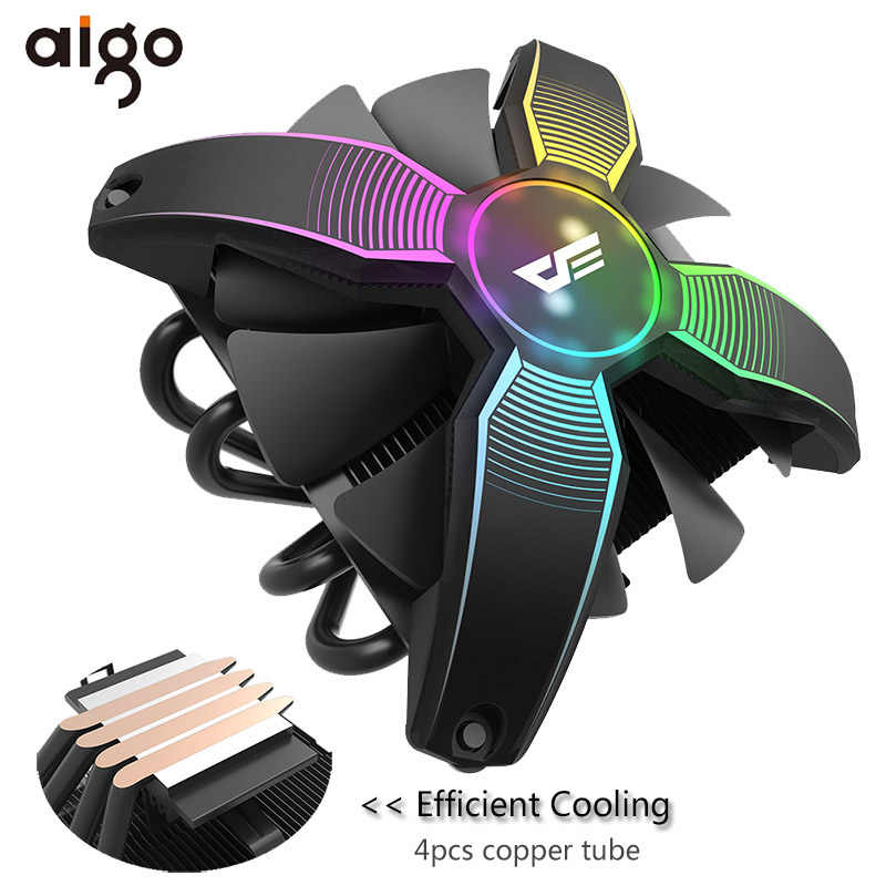 Aigo Cpu Koeler Radiator Tdp 120W Heatsink Stille 120 Mm 4Pin Cpu Koeling Voor LGA1155/1156/1151 /2011/AM4 Rgb Pc Computer Case Fan