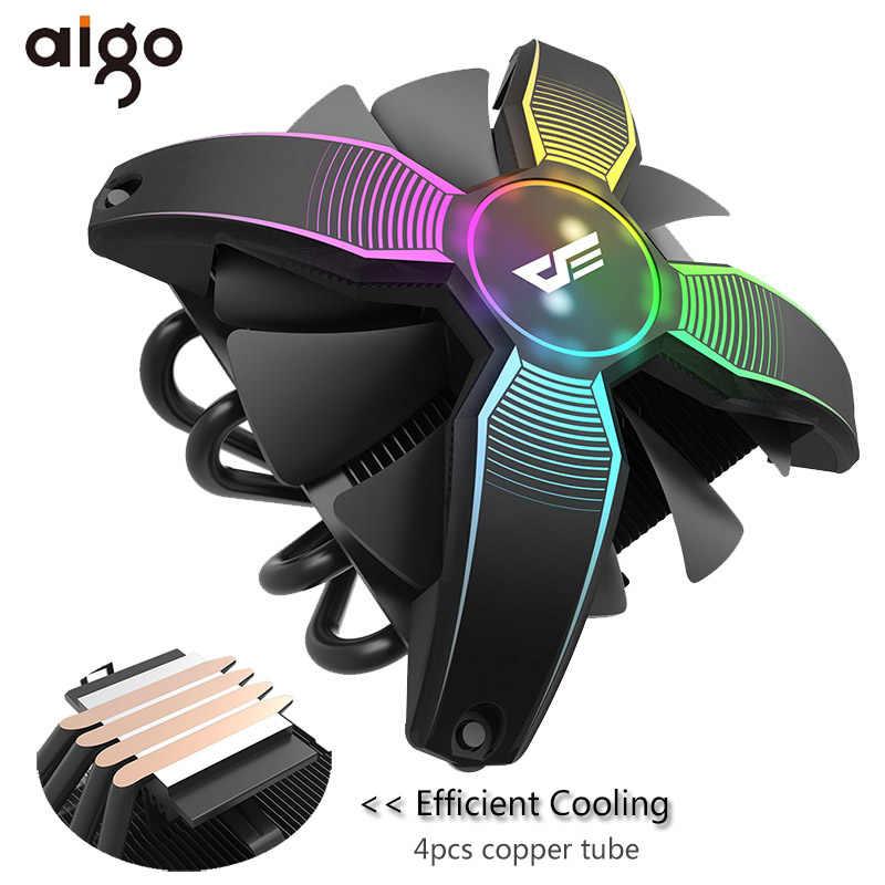Aigo CPU Cooler Radiator DP Mulai dari 120W Heatsink Diam 120 Mm 4Pin Pendingin CPU untuk LGA1155/1156/1151 /2011/AM4 RGB Komputer PC Kasus Kipas