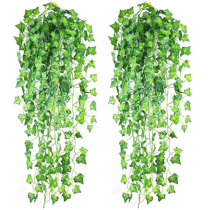 2.5M Home Decor sztuczny liść bluszczu girlanda roślinna winorośli fałszywe liście kwiaty pnącza zielony bluszcz korona sztuczna trawa liście