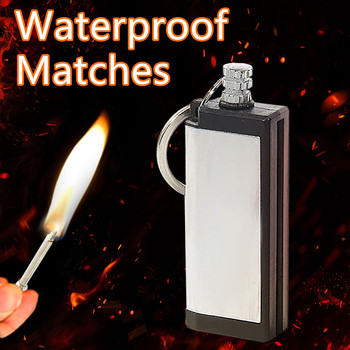 Outdoor Waterproof Portable Lighter Bottle Keychain With Containing Cotton Core Survival Keychain Flint Fire Starter Tools image