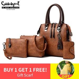 Image 1 - Women Handbags and Purse 3pcs Bag Set Female Shoulder Crossbody Bag Solid Color Soft Bag Wallet Handbag Cat Tassels Bags