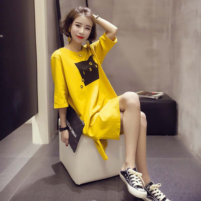 New Style Spring And Summer Short Sleeve Yellow Square Lattice Skirt Qmilch Casual Crew Neck Thin Women's Home Wear-Outer Wear N