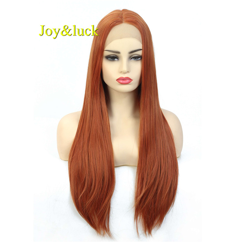 Joy&luck 22inch Long Straight Wig Orange Color Synthetic Lace Front Wig for Women Cosplay