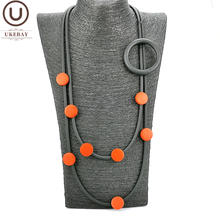 UKEBAY New Designer Pendant Necklace Clothes Accessories Women Strange Jewelry Gothic Sweater Necklace Red Wood Elasticity Chain