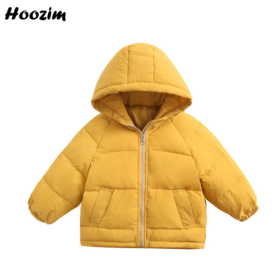 2019 White Duck Down Jacket For Boys 3 9 Years Fashion Blue Solid Hooded Outerwear Children Winter Scalloped Hem Coat For Girls