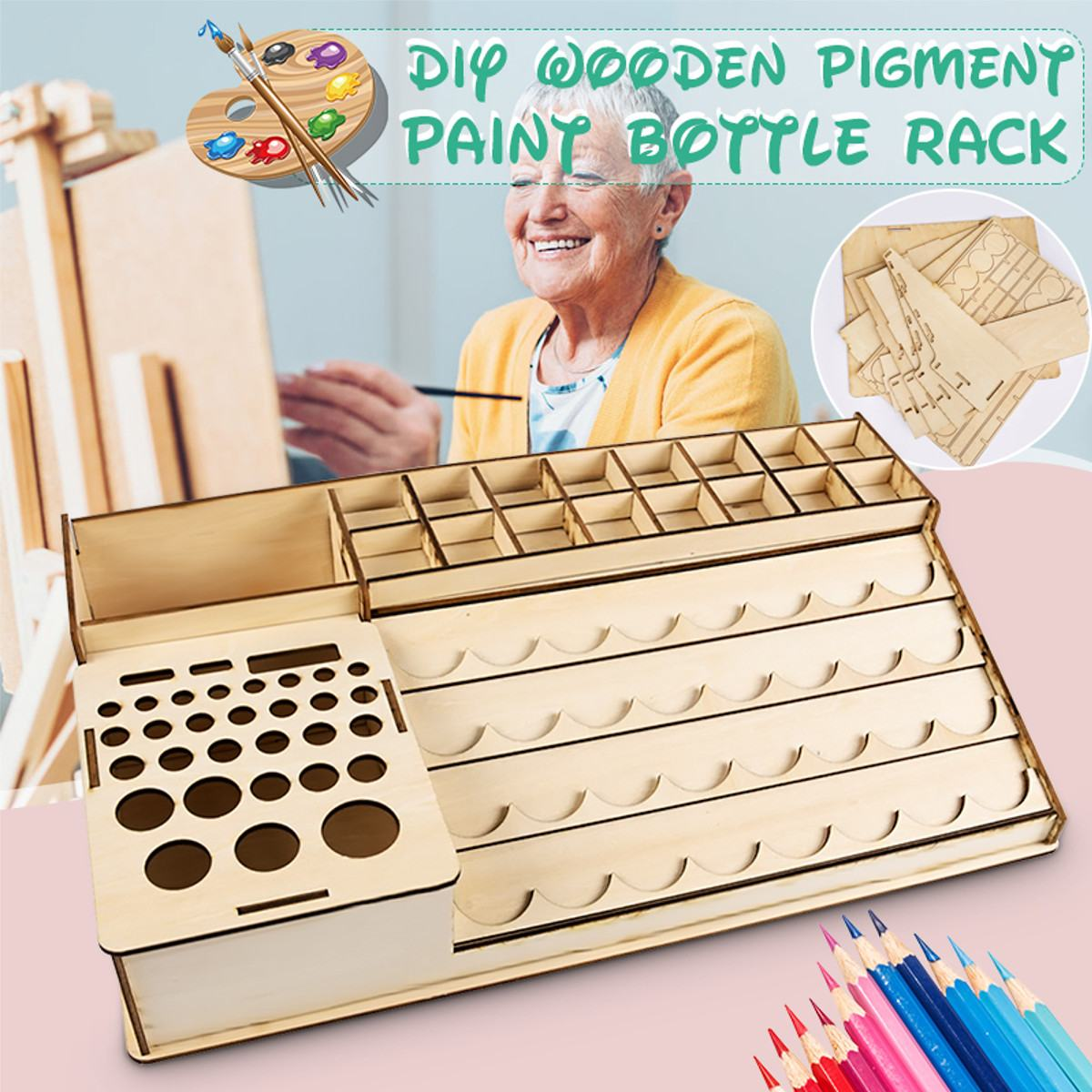 DIY Wooden Pigment Bottle Drawer Storage Organizer Holes Color Paint Ink Brush Stand Rack Modular Holder
