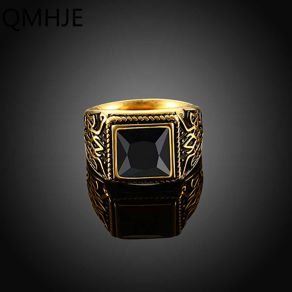 ไทเทเนียมสแตนเลสสตีลผู้ชาย Signet แหวนซีล Wedding หมั้น BIKER ชายสีดำแหวนหินเครื่องประดับ DCR005