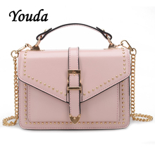 Youda 2019 New Fashion Sweet Retro Crossbody Tote Original Simple Classic Female Shoulder Bag Leisure Chain Strap Rivet Handbag