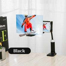14 인치 3d 화면 전화 증폭기 유니버설 돋보기 360 회전 유연한 긴 팔 게으른 휴대 전화 홀더 60cm 데스크 스탠드