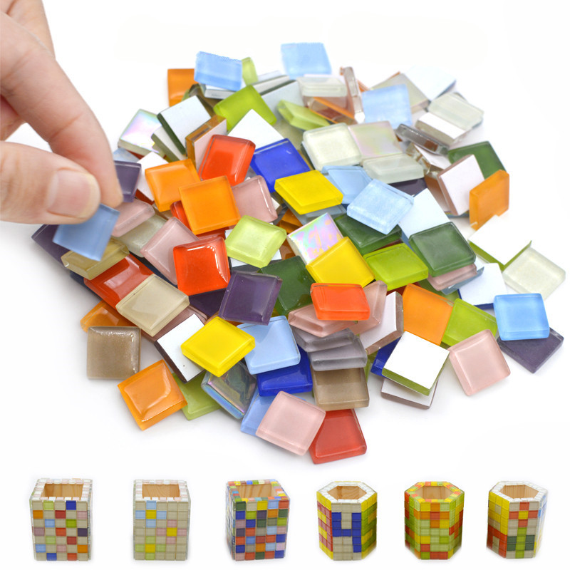 100 Pcs Color Square Transparent Clear Crystal Glass Mosaic Tiles for DIY Art Crafts Mosaic Making <font><b>15x15mm</b></font> Glass Mirror Tiles image