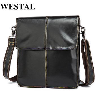 WESTAL Messenger Bag Men's Shoulder Bags Genuine Leather Small Flap Male Man Crossbody Bag for Messenger Men Leather Bags bullcaptain new men bag genuine leather man brand crossbody shoulder bag small business bags male messenger leather bags