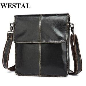 WESTAL torba męska torba na ramię skórzana mała klapa męska męska torba Crossbody na Messenger skórzane torby męskie