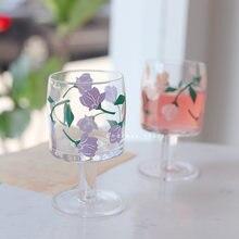 Милая прозрачная стеклянная чашка креативный цветок бокал сок