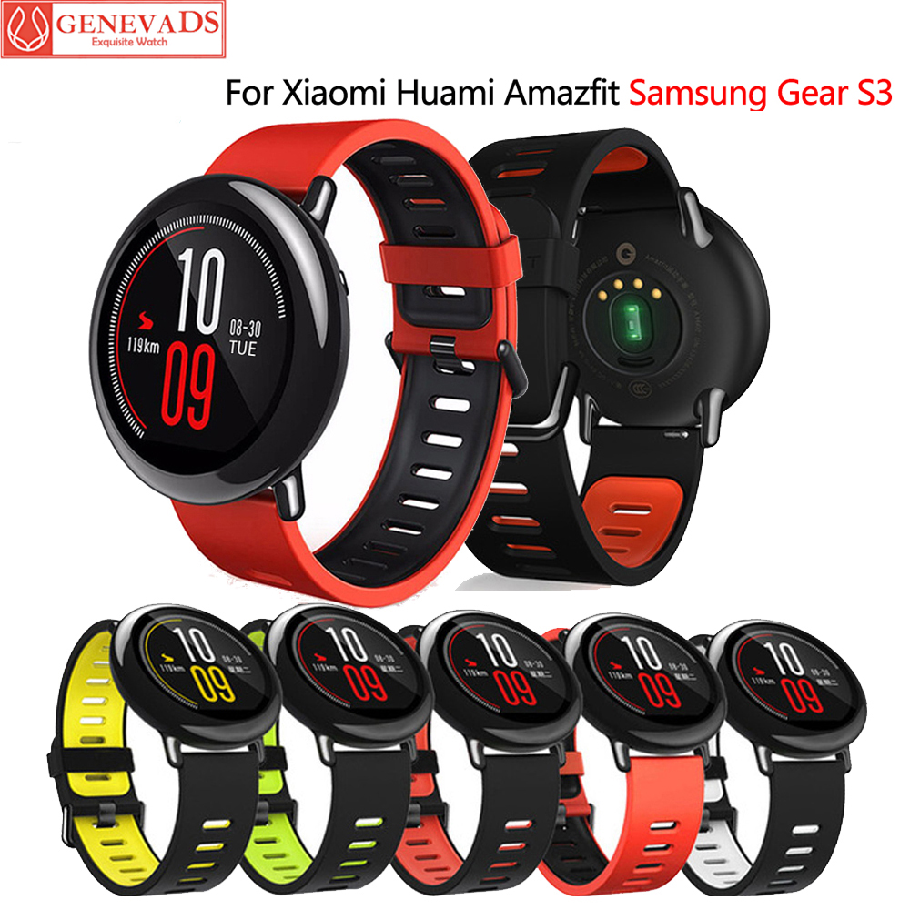 Replaceable Silicone Strap For Xiaomi Huami Amazfit Pace Stratos 2/2S Smart Watch 22mm Band For Samsung Gear S3 Frontier Strap