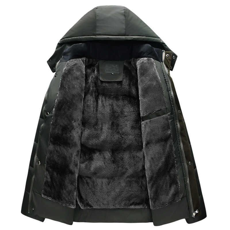 Nieuwe Mannen Jas Jassen Thicken Fur Fleece Warme Winter Winddicht Jassen Casual Mens Parka Hooded Uitloper Katoen Gewatteerde jas