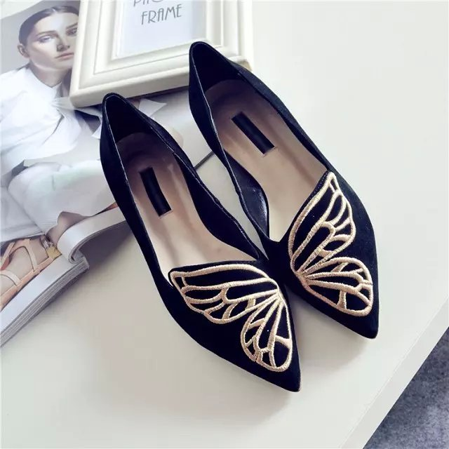 Womens Embroidery Butterfly Flat Slip On Pointed Toe Loafers Moccasin-gommin Pointed Toe Flats Shoes 2Colors C425