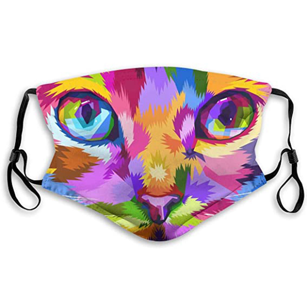 Psychodelic Cat Themed Face Mask Reusable