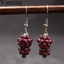 Подвесные серьги Yanting из натурального камня, красные, черные, фиолетовые, гранат, виноградный стиль, женские серьги, подарок для девочек, женские, 072