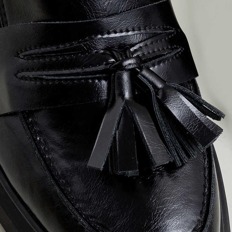 Donna-saçak platformu kadın loafer'lar Flats üzerinde kayma inek deri eğlence bayan ayakkabıları bahar 2020 kalın tabanlı chaussures femme