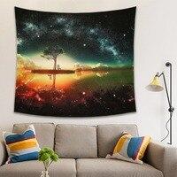 Galáxia céu estrelado pendurado tapeçaria de parede retângulo decoração para casa yoga praia toalha piquenique cobertor lance tapete parede poliéster