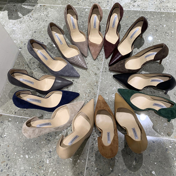 Side Air Snake Pattern High Heeled Shoes With Fine Heel Occupation Shallow Mouth Single Shoes Spring Summer Was Thin Shoes 33 42