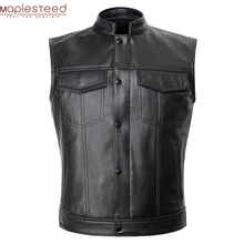 Classical Motorcycle Biker Leather Vest Men Genuine Leather Sleeveless Jackets 100% REAL Cowhide/Sheepskin Asian Size S-6XL M232