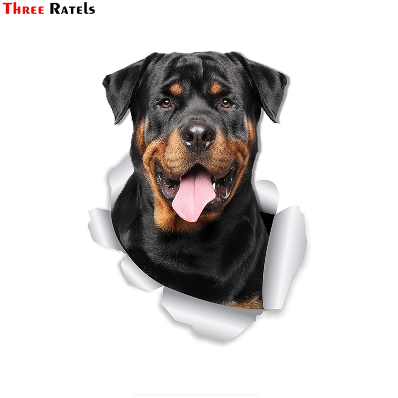 Three Ratels FTC-1060 3D Smiling Rottweiler Dog Decal For Car Window Bumper Car Sticker Retail Packaged Rottweiler Lover Gift