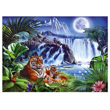 Diamond Embroidery 5D DIY Diamond Painting Tiger Full Round Drill Mosaic Painting Cross Stitch Decoration mooncresin diamond painting cross stitch comfortable tiger animal diy diamond embroidery full round 5d diamond mosaic decoration
