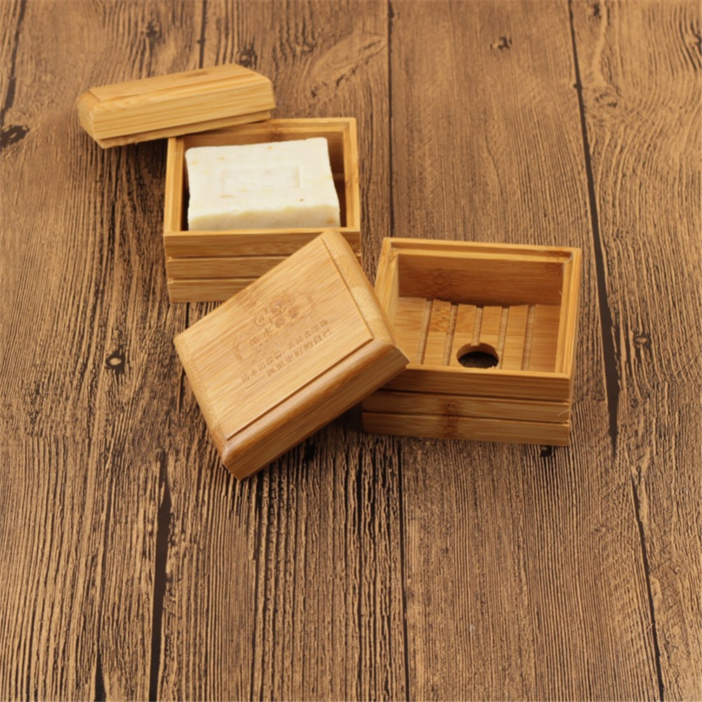 Eco-Friendly Bamboo Wooden Soap Dish Container Travel Soap Dish Box Cas Soap Case Holder Soap Storage Box Bathroom Accessories