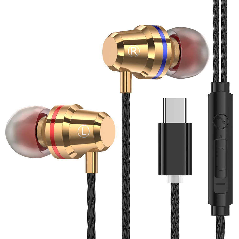 USB Type C Metal Earphones Wired Earphone With Microphone Type C Earbuds For LeEco Le 2 For Xiaomi Mi5