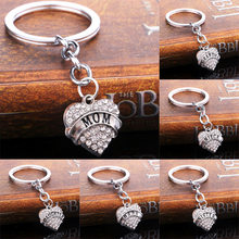 Crystal Heart Keyring Mom Nana Nurse Teacher Sister Best Friend Keychain Mother's Day Key Chain Ring Mom Gifts Jewelry Family