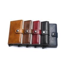 Genuine Leather Men ID Card Holder Hasp RFID Blocking Wallet Credit Card Holder Fashion Cardholder Wallets Purse for Bank Cards