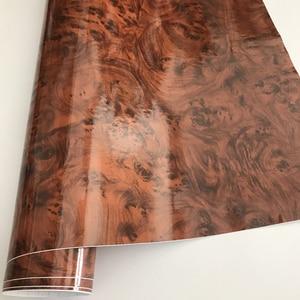 Image 4 - 50x200/300cm Glossy PVC Furniture Wood Grain Car Wrap Car Film Internal Stickers Waterproof Wood Vinyl Sticker