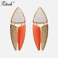 Ztech оранжевые масляные серьги нового дизайна золотого цвета