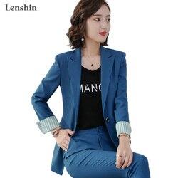 Conjunto de 2 piezas de moda de lenespín, traje de pantalón Formal de contraste, chaqueta de oficina para mujer, uniforme ol, diseños de chaqueta y pantalón de negocios para mujer