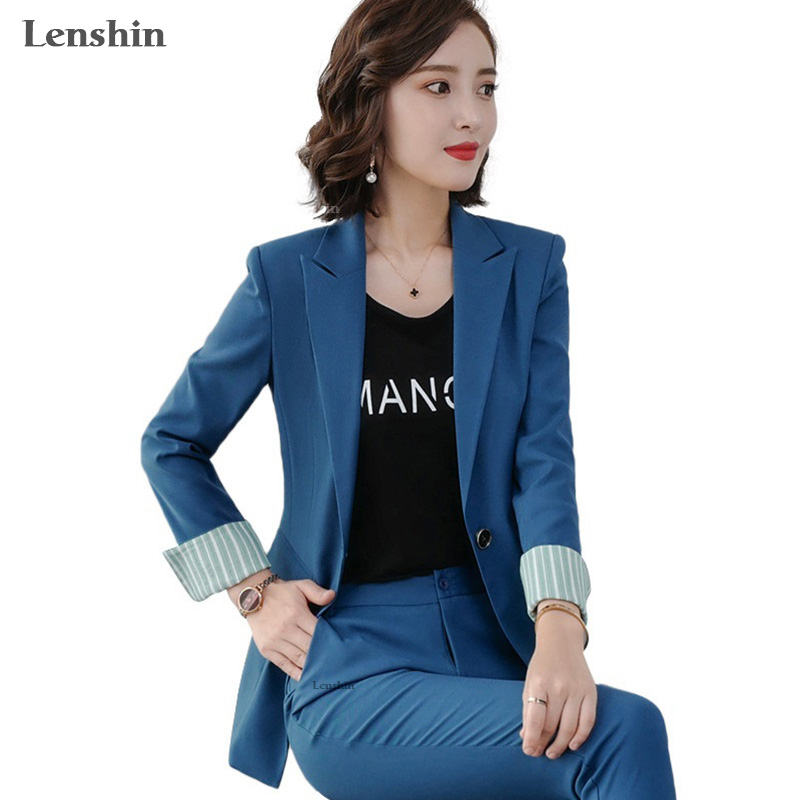Lenshin Fashion 2 Piece Set Contrast Formal Pant Suit Blazer Office Lady OL Uniform Designs Women Business Jacket And Pant