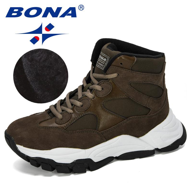 BONA 2019 New Designer Flat Women Boots Winter Fashion Shoes Snow Boots Women Waterproof Rubber Boots Women Casual  Footwear