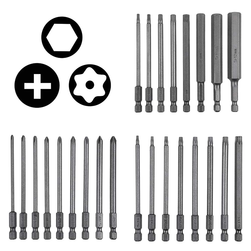 25Pcs 100Mm Long Magnetic Screwdriver Bit Set 4 Inch Drill Screw Driver Power Tools Kit|Screwdriver| |  - title=