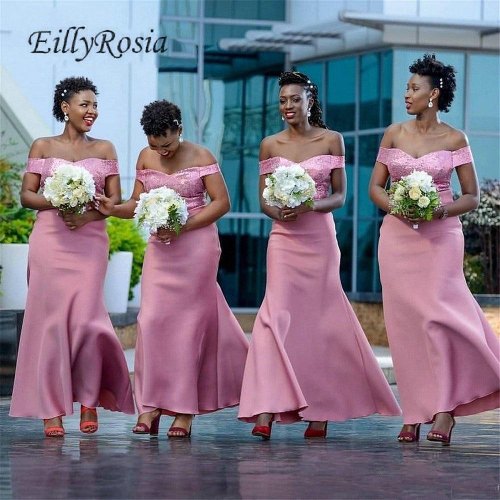 US $15.15 315% OFFHeißer Rosa Pailletten Afrikanische Brautjungfern Kleider  für Hochzeit Party Off Schulter Meerjungfrau Hochzeit Gast Kleid 21519