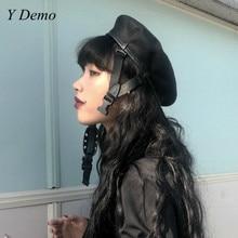 Harajuku ปรับหัวเข็มขัดผู้หญิงสีดำ Beret ใหม่สาวจิตรกรหมวก