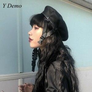 Image 1 - Harajuku fivela ajustável feminino boina preta nova menina pintor chapéu