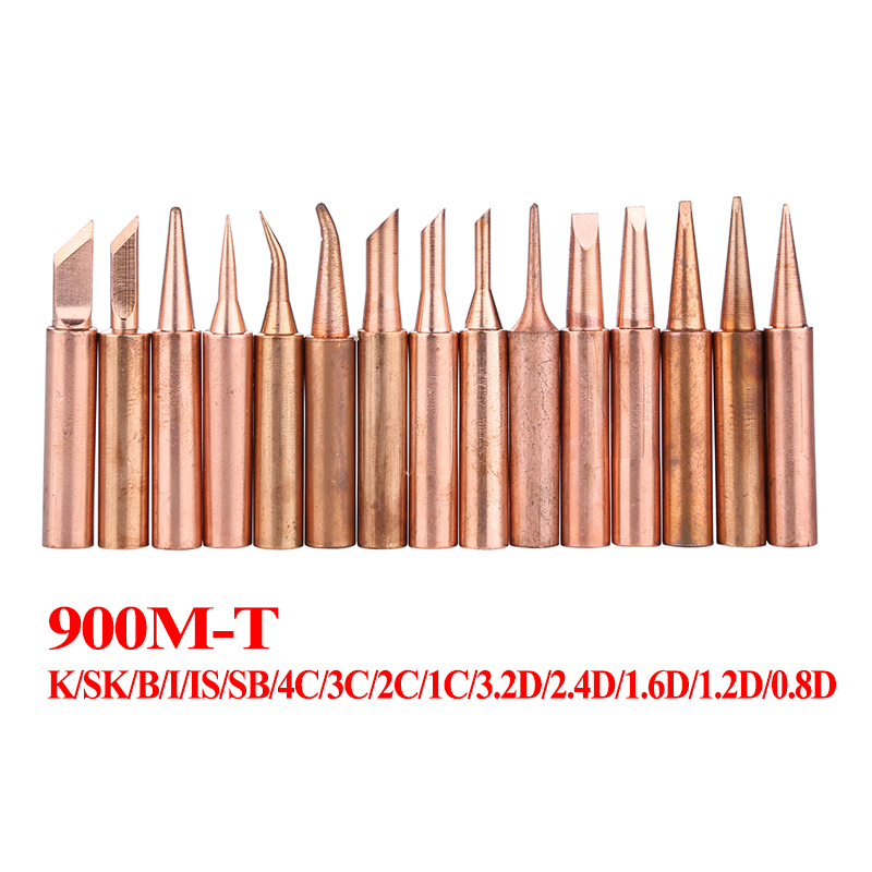15Pcs/lot Pure Copper Lead Free Soldering Iron Tips 900M-T Welding Head For 936 Soldering Station Tool Kits