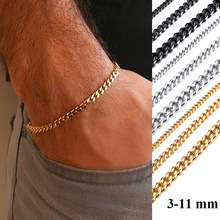LETAPI Basic 3/5/7/9/11mm Curb Cuban Link Chain Bracelets for Men Women Jewelry Anti Allergy Stainless Steel Wristband Gifts