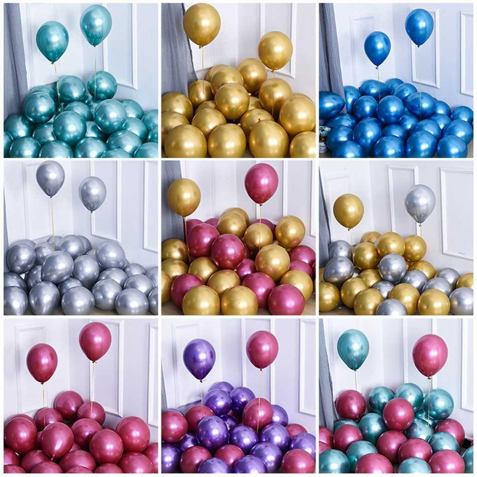 10 pçs 12 polegada ouro prata metal látex balão feliz aniversário festa de aniversário ruby balão acessórios ano novo bolas para decoração de aniversário