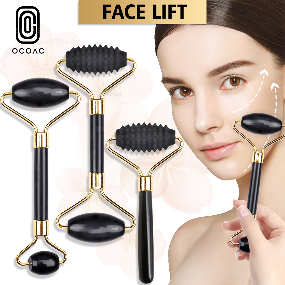 Obsidian Jade Roller Massager Gouache Scraper For Face Facial Skin Care Tools Natural Body Back Beauty Lifting Massagers Rollers