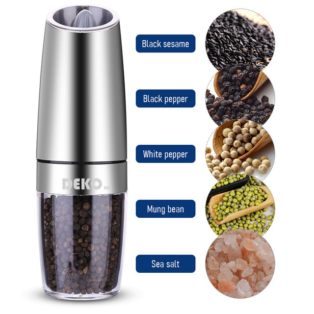 DEKO Electric Pepper Mill Gravity Induction Stainless Steel Salt Spice Grinder LED Light Kitchen Tool 5