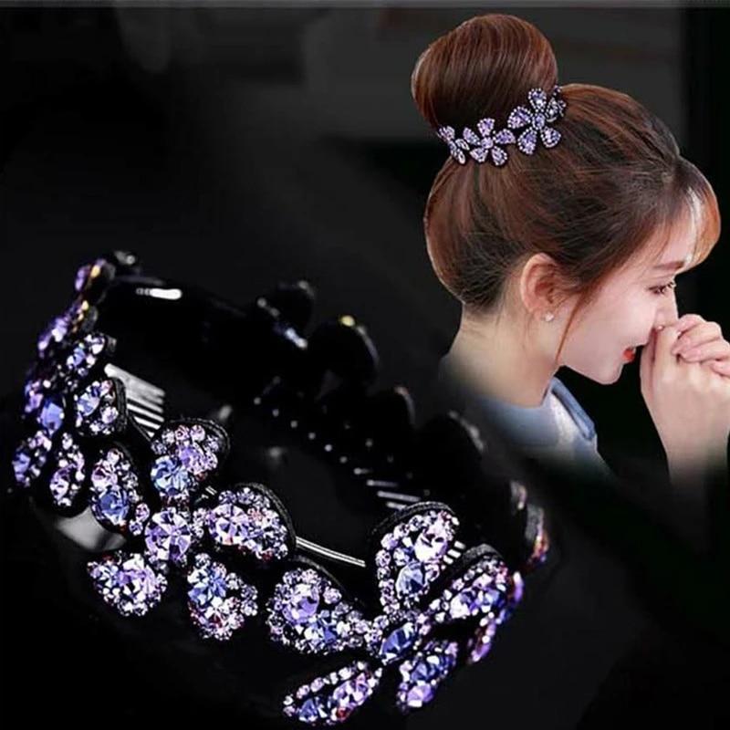 Women/'s Fashion Crystal Rhinestone Hair Clip Ponytail Bun Holder Hair Accessory