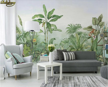 beibehang Custom wallpaper mural hand-painted plant banana tree western painting TV background wall 3d wallpaper(China)