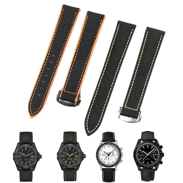 19 20mm 21 22mm 23mm Nylon Leather Canvas Watchband For Omega Watch Strap for Citizen for Carrera5 for IWC Bracelets Accessories