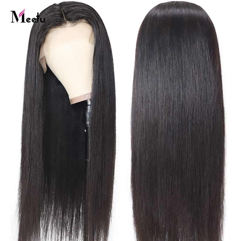Meetu 4X4 Closure Wig Glueless Lace Front Human Hair Wigs 8-26